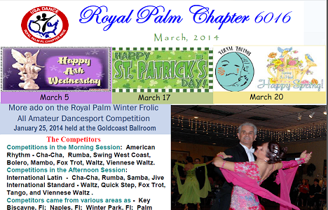 USA Dance, Royal Palm Chapter NewsLetter for March, 2014