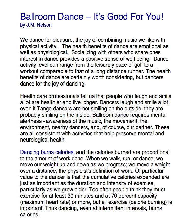 Ballroom Dance--It's Good For You
