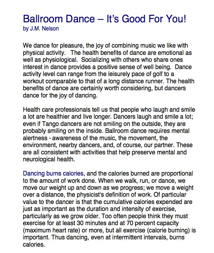 Ballroom Dance--It's Good For You