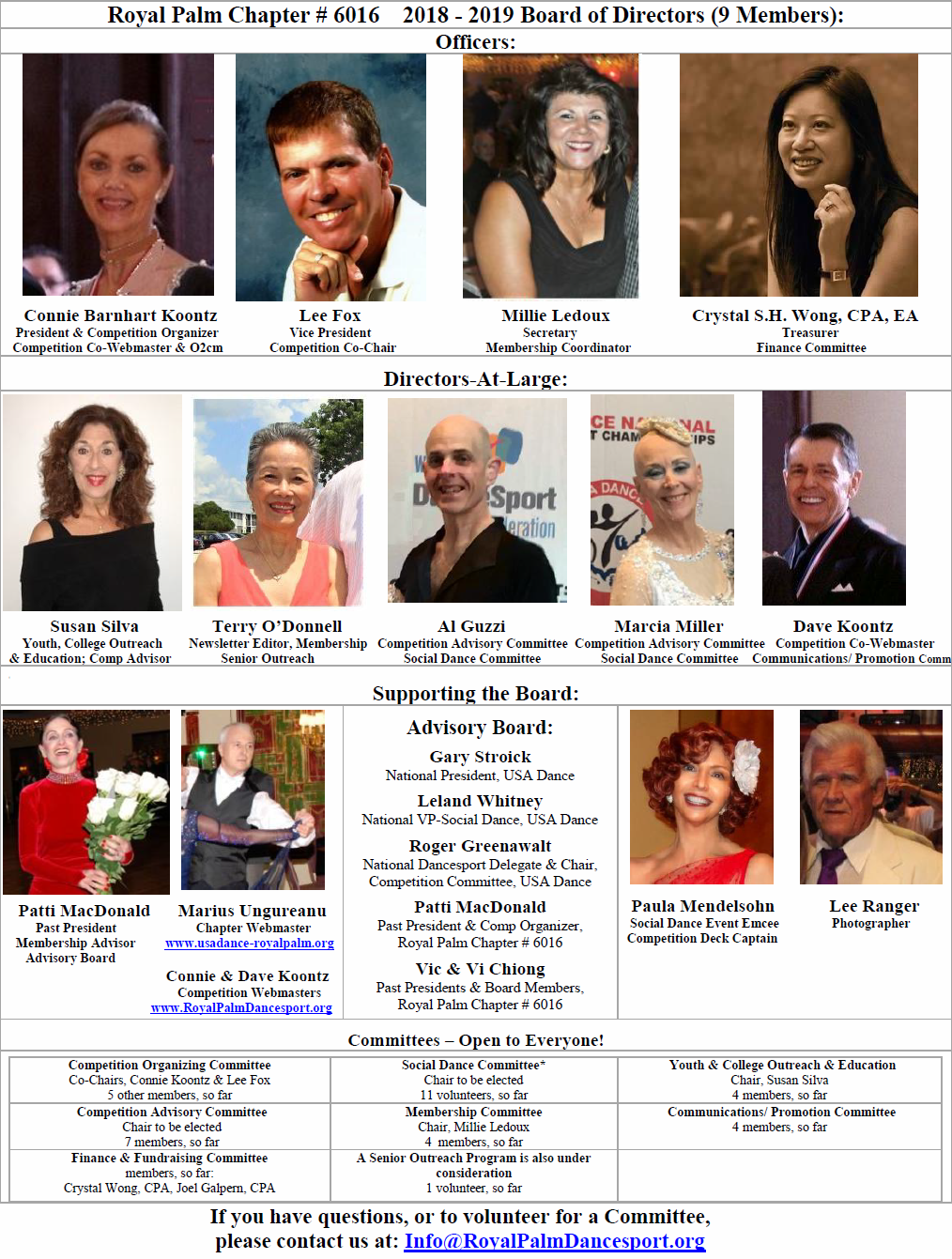 2018-2019 Board of Directors - USA Dance, Royal Palm Chapter # 6016