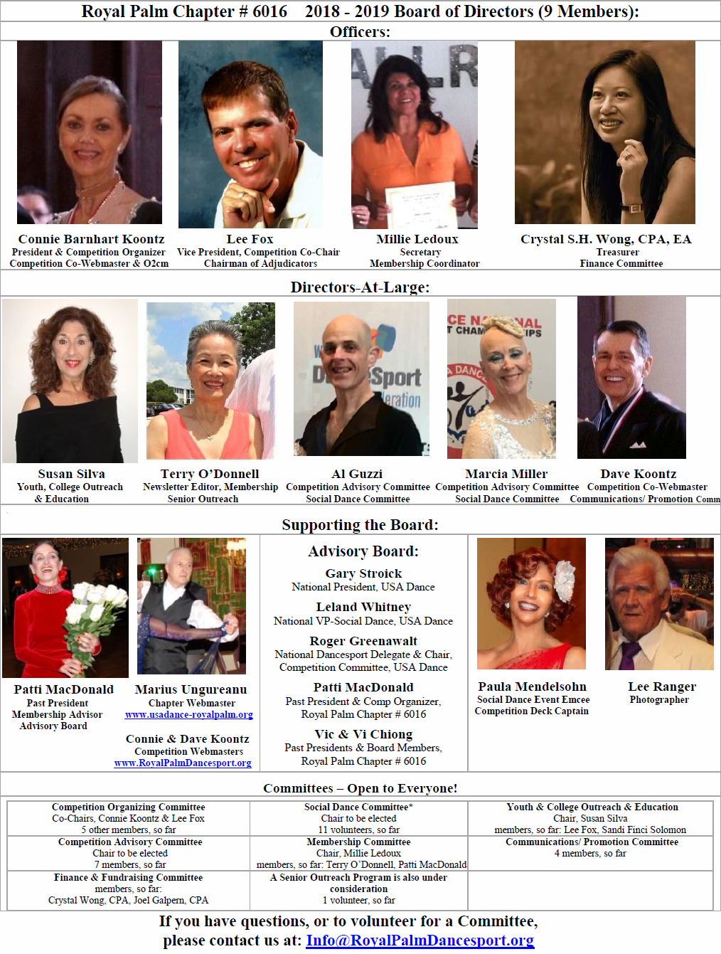 2018-2019 Royal Palm Chapter Board of Directors & Officers