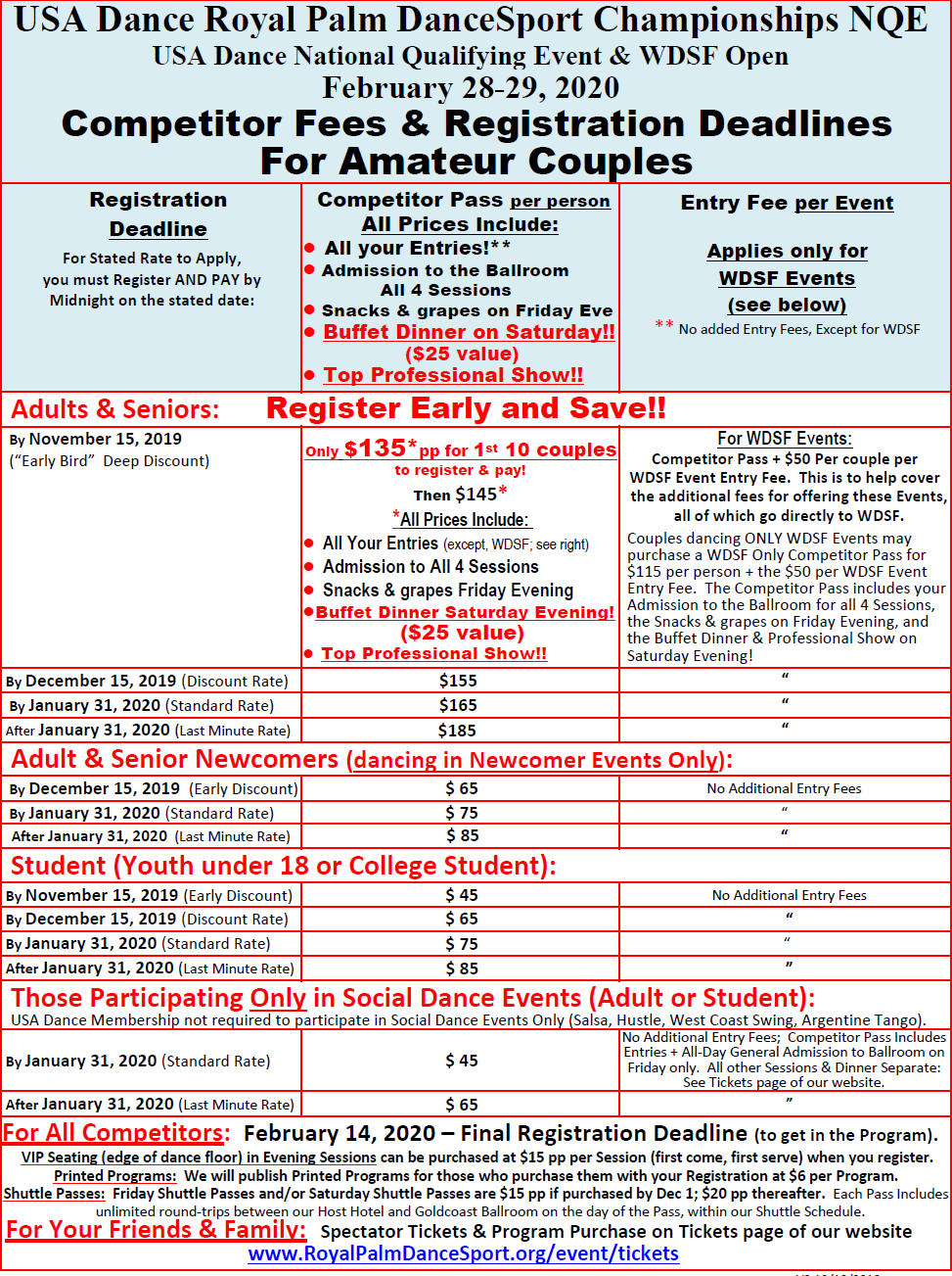 2020 Amateur Competitor Fees & Deadlines - Feb 28-29, 2020 Royal Palm DanceSport Championships NQE & WDSF Open