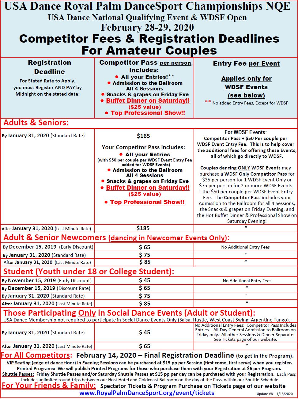 2020 Amateur Fees & Registration Deadlines
