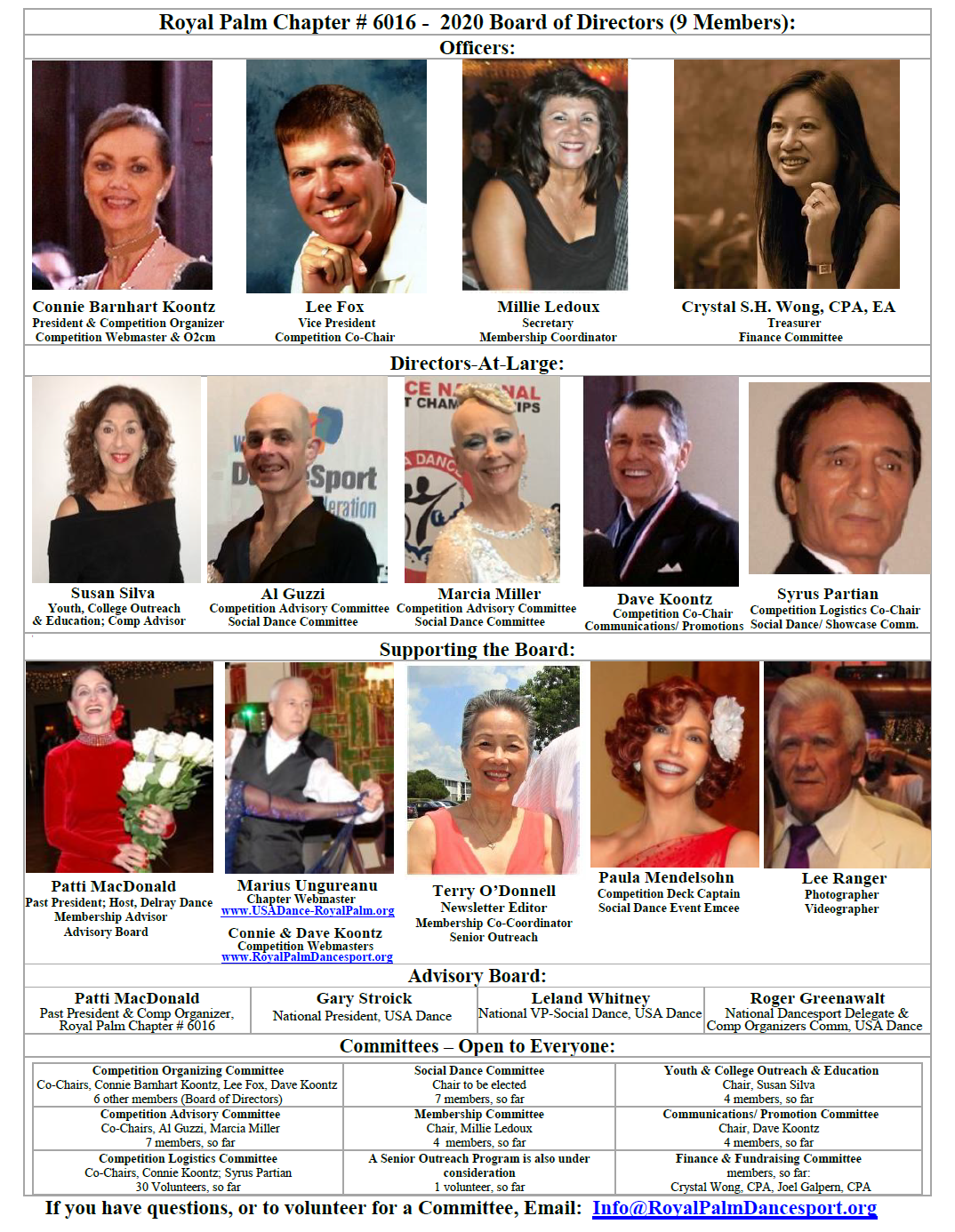 2020 Board of Directors & Leadership Team - USA Dance, Royal Palm Chapter # 6016