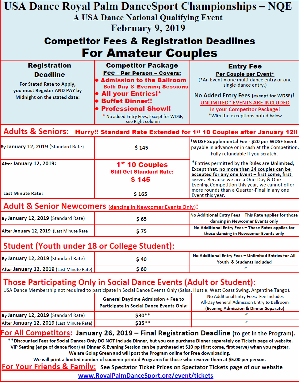 Updated Fees & Deadlines Chart - First 10 Adult or Senior Amateur Couples after January 12 still get Standard Rate!