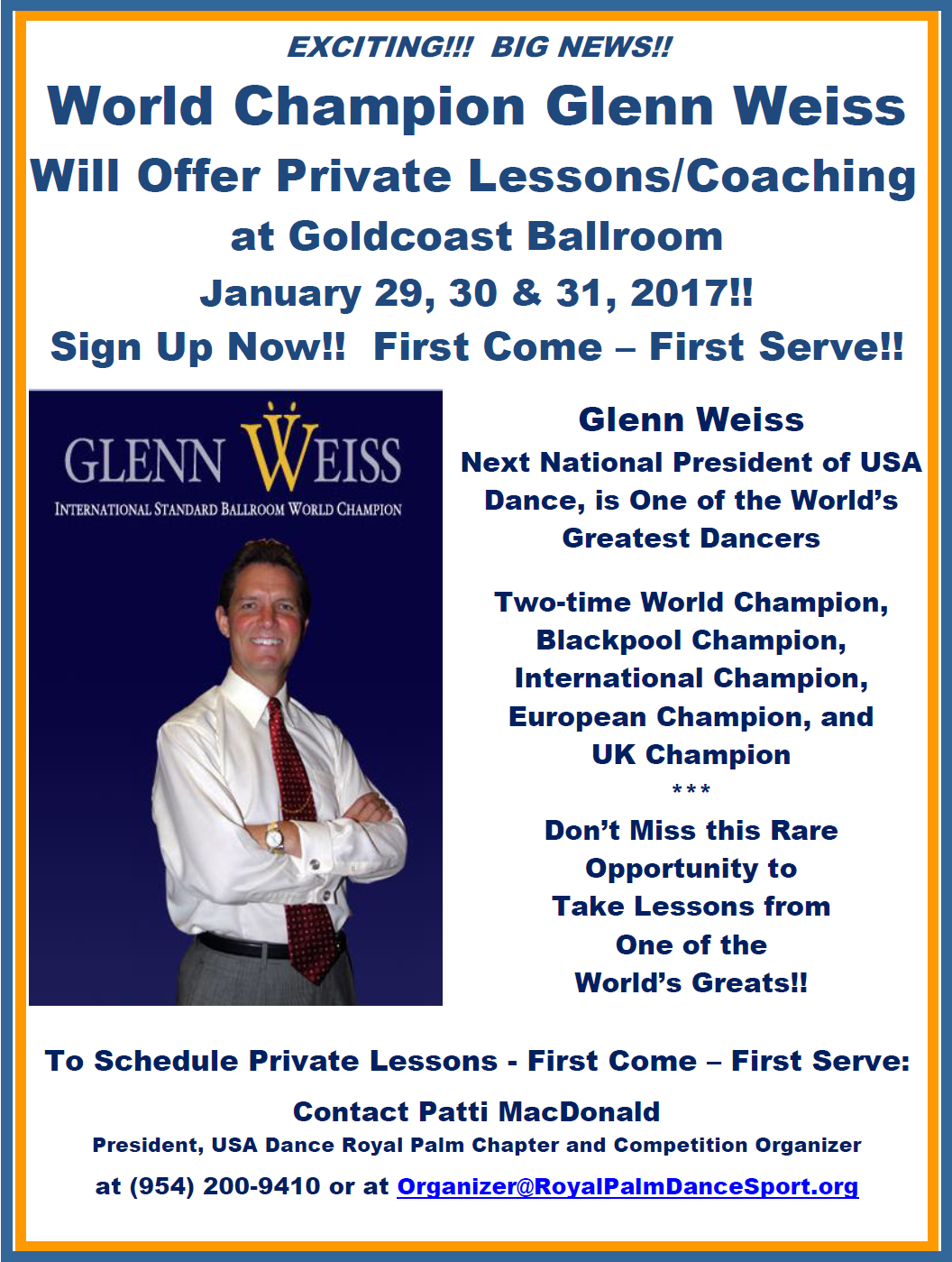 Glenn Weiss - Private Lessons - January 29-31, 2016 - Sign Up Now! - First Come- First Serve