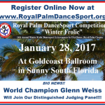 World Champion Glenn Weiss, Next National President of USA Dance and One of the World's Greats, will Judge at the January 28, 2017 USA Dance Royal Palm DanceSport Competition!! – Register Online NOW!!