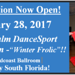 Register Online NOW!! –  for the January 28, 2017 USA Dance Royal Palm DanceSport Competition – 'Winter Frolic' !!