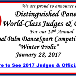 2017 Distinguished Panel of Judges & Officials Announced! – for the 14th Annual Royal Palm DanceSport Competition – 'Winter Frolic'