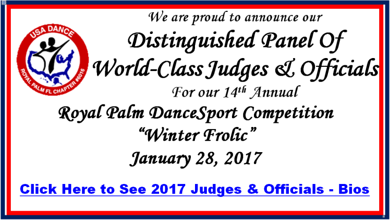 Click Here to See 2017 Distinguished Panel of Judges & Officials