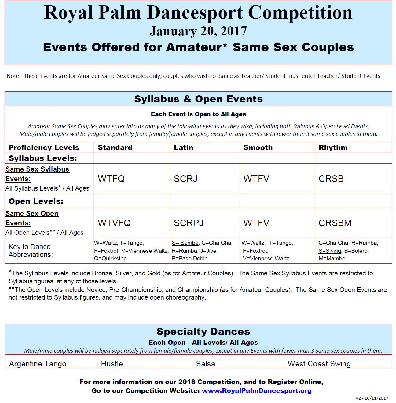Amateur Same Sex Events - 2018 Royal Palm Dancesport Competition