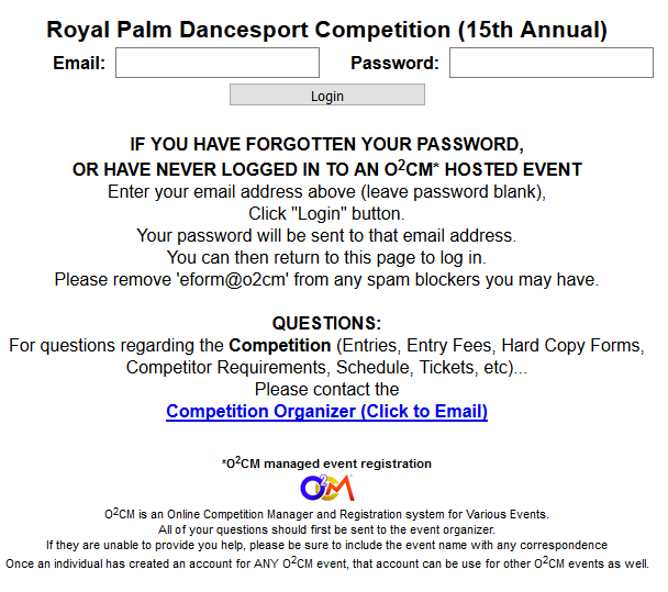To Register, Click on the appropriate Contact Info/ Release Form above. Upon submitting that simple Form, you will receive an e-mail with instructions and a link to our O2cm Online Registration Form, where you can register for the 2018 Royal Palm Dancesport Competition!