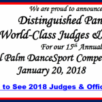 2018 Distinguished Panel of Judges & Officials Announced! – for the 15th Annual Royal Palm DanceSport Competition