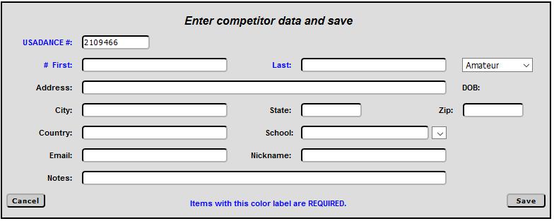 O2cm - Competitor Data Screen