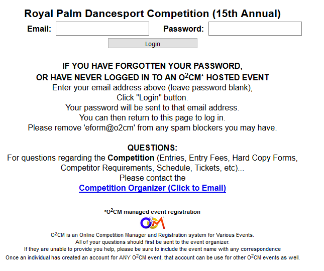 O2cm Login page/ Entry Form to Register for the Royal Palm Dancesport Competition