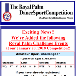 More Amateur Open Royal Palm Challenge Events Added at January 20, 2018 Royal Palm Dancesport Competition!!! – You Can Still Add These Events if you have Already Registered