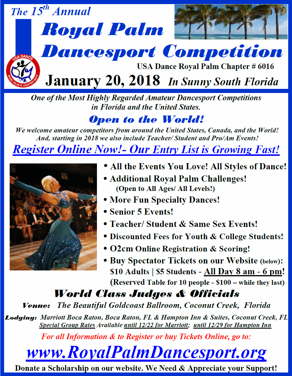 15th Annual Royal Palm Dancesport Competition - January 20, 2018 - All Day January 20, 2018  at Goldcoast Ballroom in Sunny South Florida!