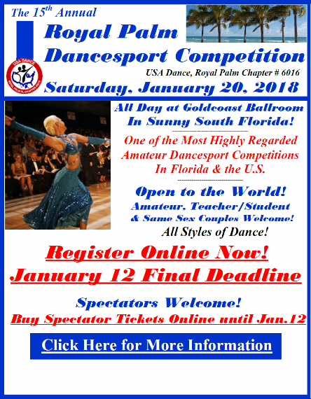 Register Now - January 12 Final Deadline - Royal Palm Dancesport Competition - January 20, 2018!