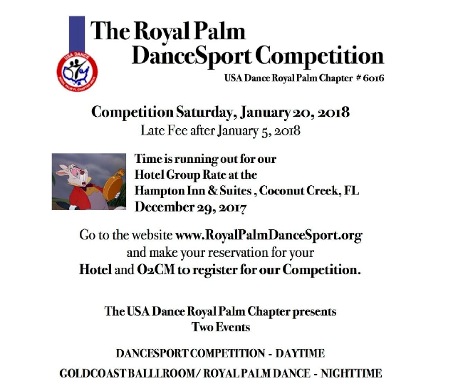 Royal Palm Dancesport Comp - January 20 - Late Fee after January 5