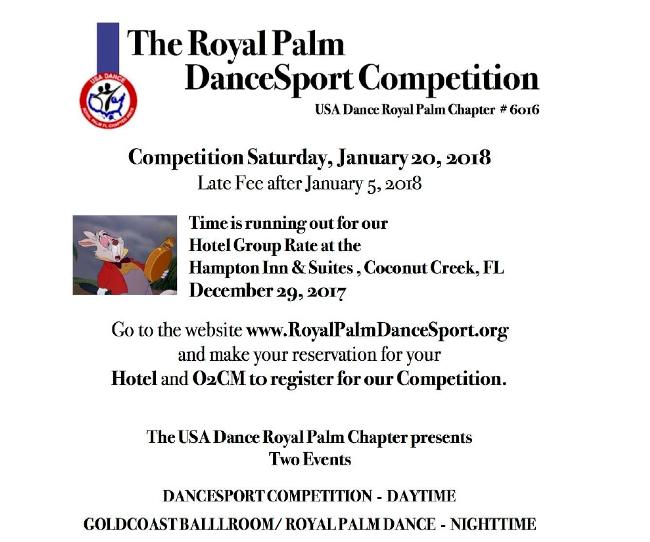 Royal Palm Dancesport Comp - January 20 - Late Fee after January 5