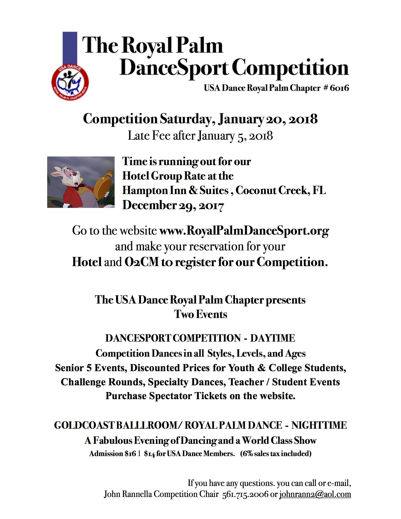 Royal Palm Dancesport Competition - January 20, 2018 - Register by January 5 to avoid Late Fees - Hotel Deadline December 29 (for Hampton Inn)
