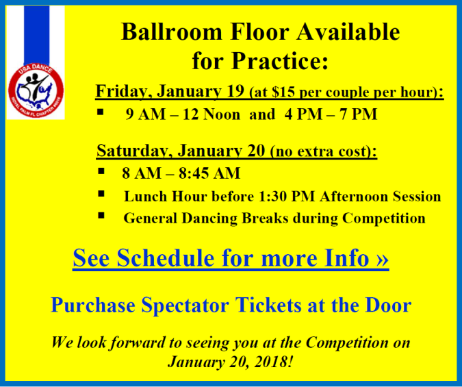 Ballroom Floor Available for Practice – Click for More Information