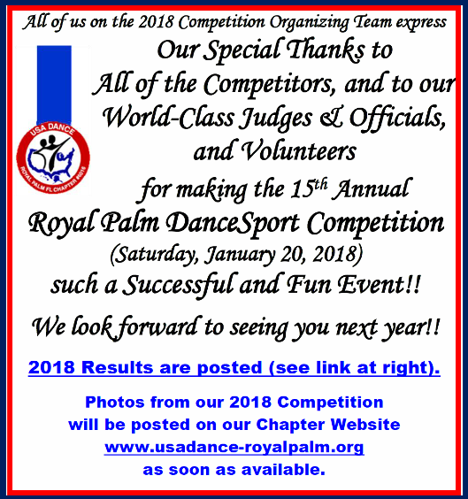 Thank you to All of our Competitors, Judges & Officials, and Volunteers!!