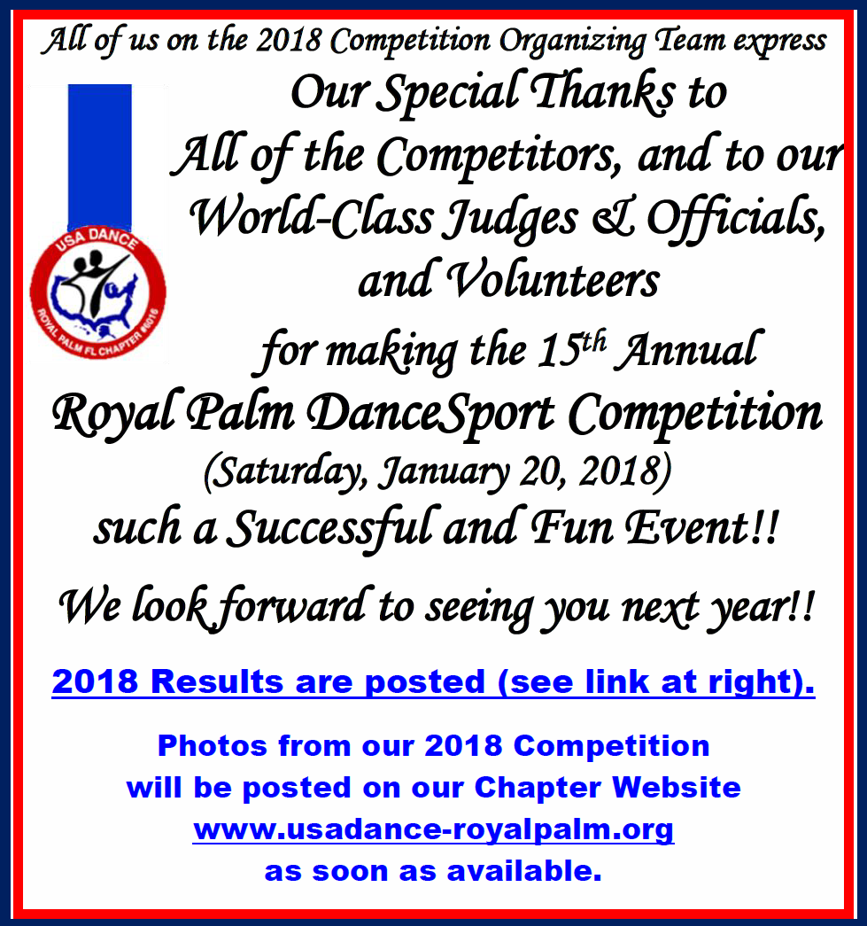 Thank you to our Competitors, Judges & Officials, and Volunteers - for making our 2018 Competition such a Successful & Fun Event!!