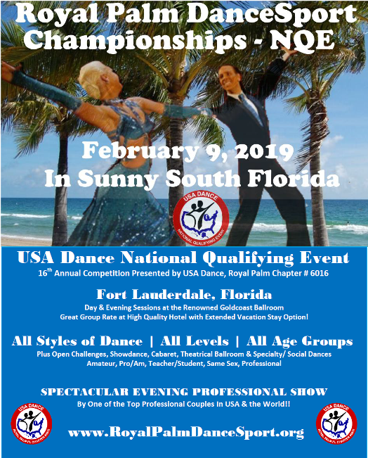 Exciting!!  Announcing First USA Dance National Qualifying Event (NQE) in Florida!!