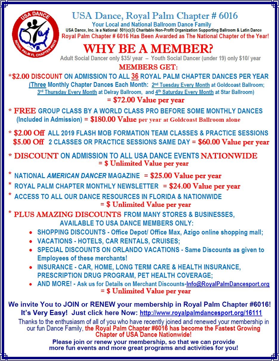 Why be a Member of USA Dance, Royal Palm Chapter # 6016?