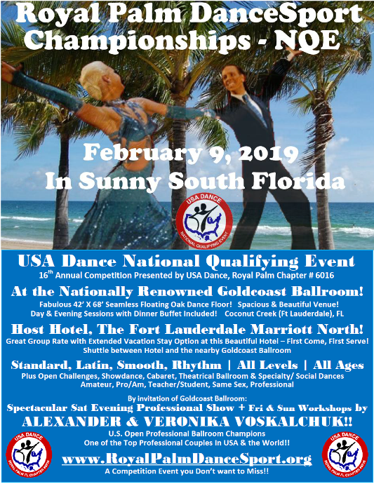Click to Print Flyer - Royal Palm DanceSport Championships NQE - February 9, 2019