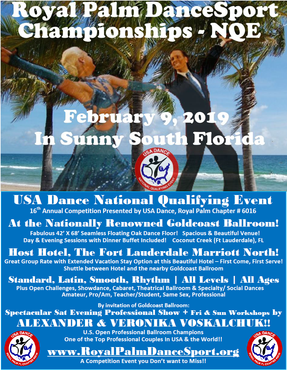 Click to Register NOW for Royal Palm DanceSport Championships NQE - February 9, 2019