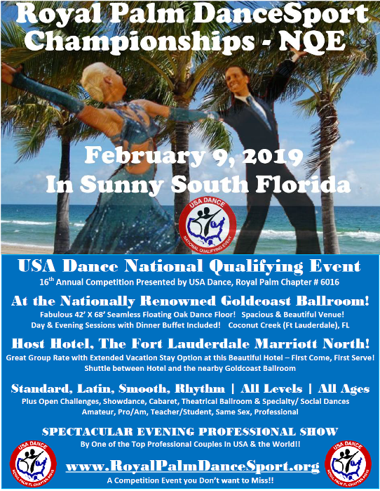 Royal Palm DanceSport Championships NQE - February 9, 2019 in Sunny South Florida!
