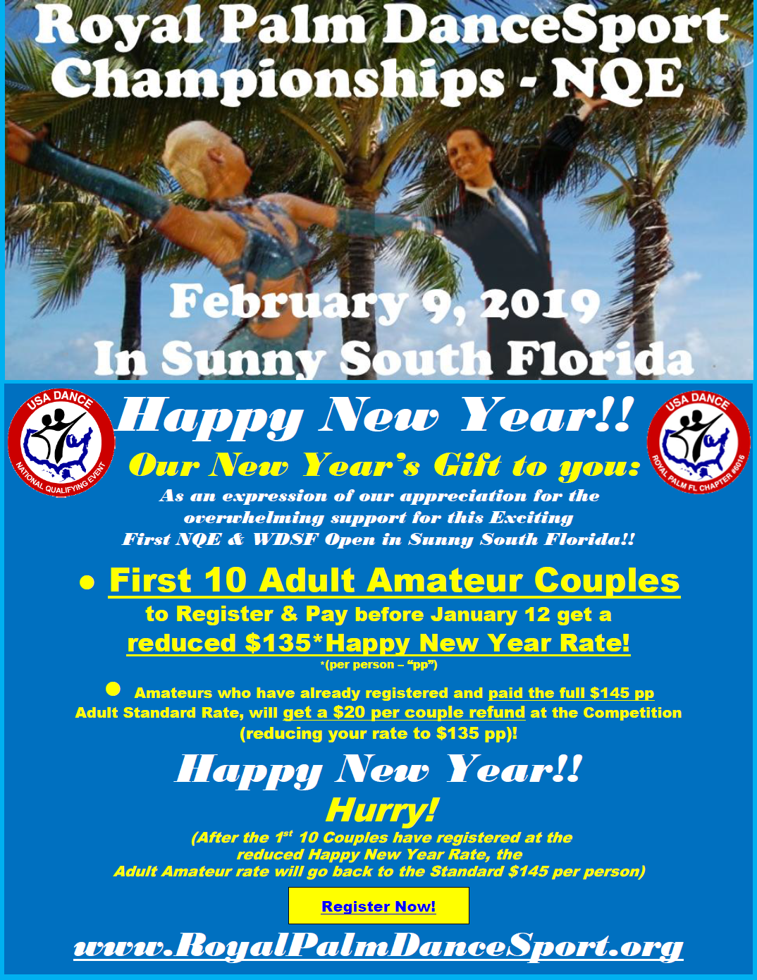 Reduced Happy New Year Rate for 1st 10 Couples! - Royal Palm DanceSport Championships