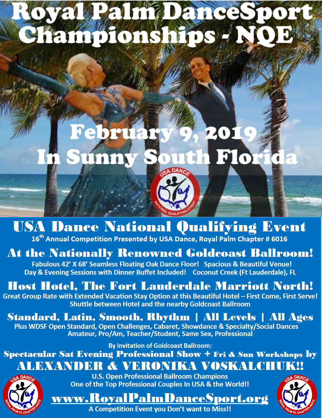 Royal Palm DanceSport Championships NQE and WDSF Open - February 9, 2019
