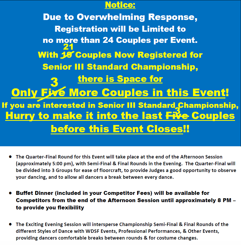 Breaking News! - All Events will be limited to 24 Couples - Space for only 3 Couples Remaining in Senior III Standard Championship! - as of January 13, 2019