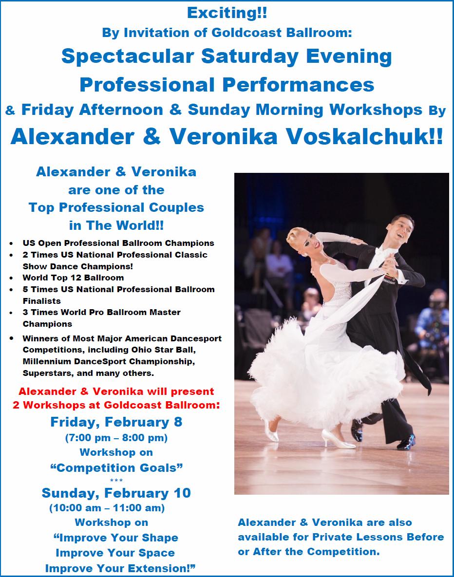 Exciting!! - Saturday Night Professional Show by Alexander & Veronika Voskalchuk!  +  Workshops Friday Evening & Sunday Morning