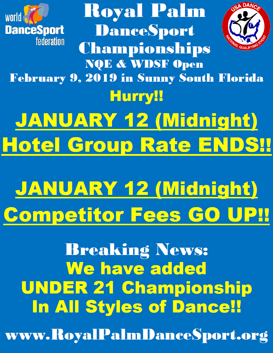Hurry! - January 12 - Hotel Group Rate Ends & Competitor Fees Go Up!
