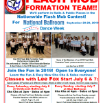 Join the Fun!! – Join our Royal Palm Chapter 2019 Flash Mob Formation Team!! – Classes in the Fun Cha & Salsa Routines Continue in August & September, until we Perform in 3 Malls on Saturday, September 21! – Come Dance with Us or Watch!!