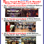 Exciting!! – USA Dance, Royal Chapter now has THREE Monthly Social Dances Each Month! – Members' Discount Applies at Each Dance!