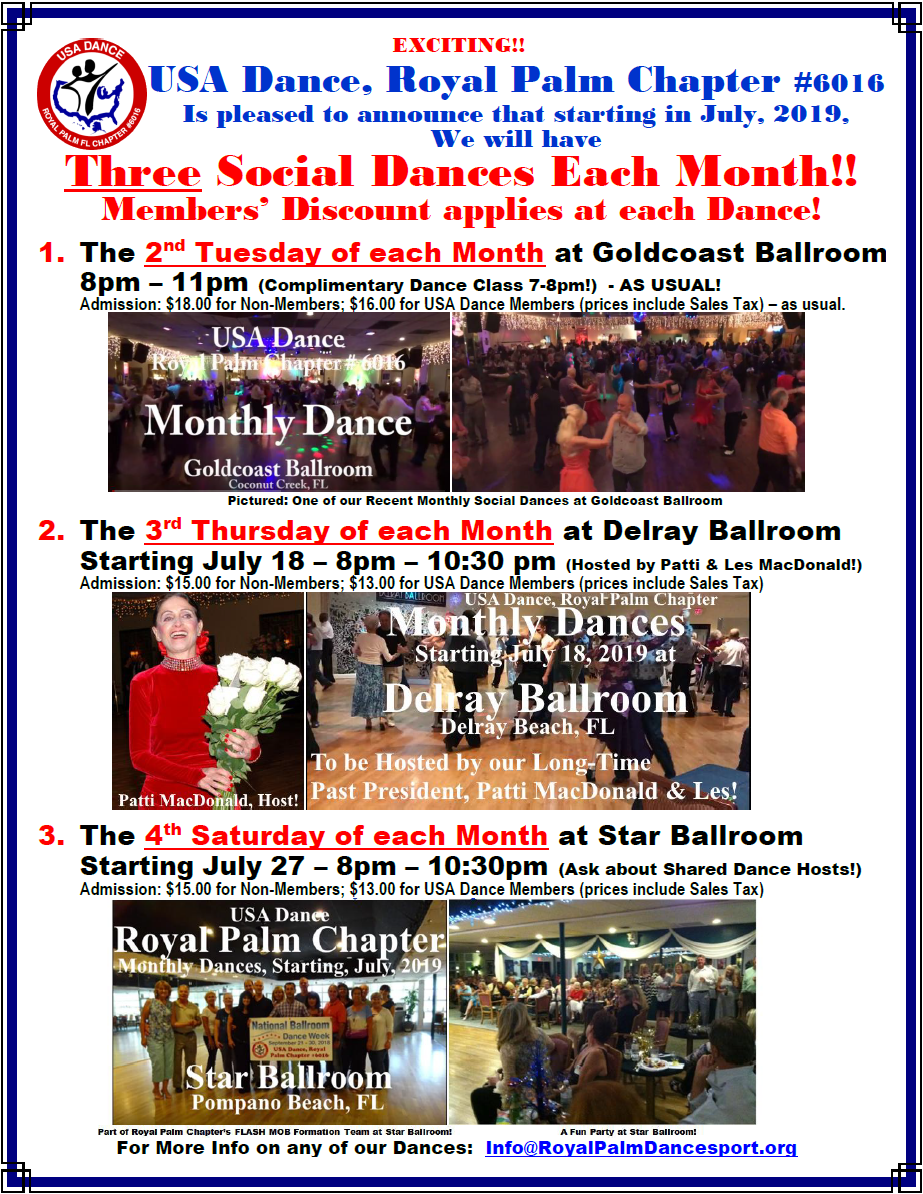 3 Royal Palm Chapter Monthly Social Dances - Starting in July, 2019!