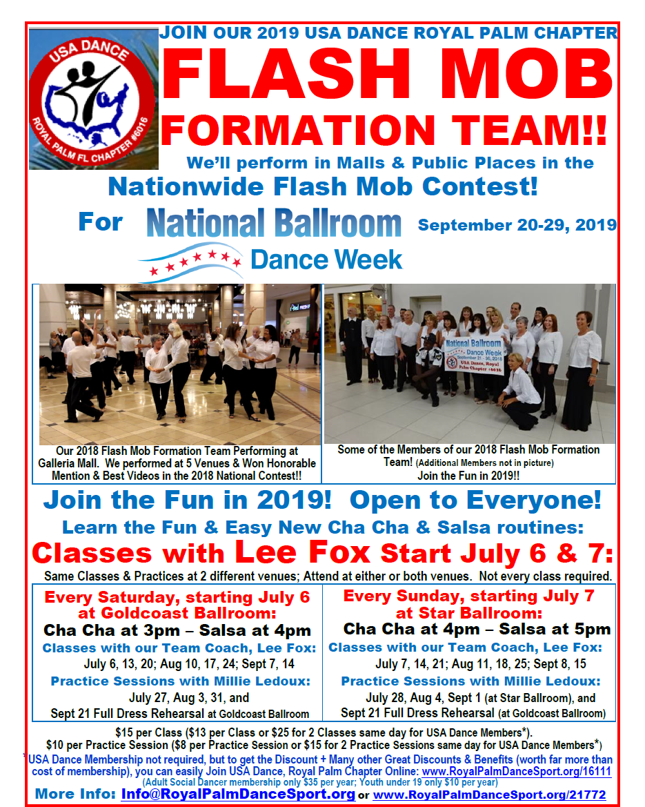 Join the Fun! - Join our 2019 Flash Mob Formation Team! - Classes Start in July
