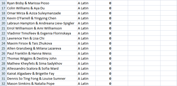 Adult Latin - Excel 2 - July 1, 2019