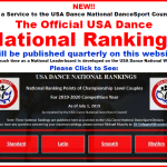NEW!! – Official USA Dance National Rankings Published Here, as Service to DSC until Leaderboard Developed on National Website