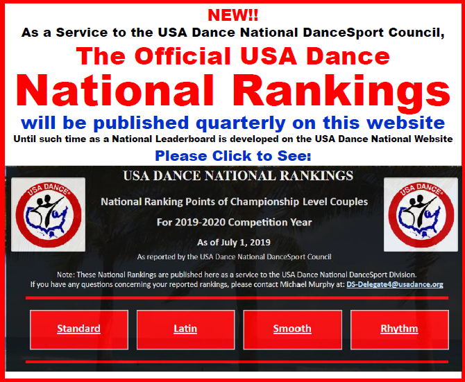 NEW!! - Official USA Dance National Rankings Published Here, as Service to DSC until Leaderboard Developed on National Website
