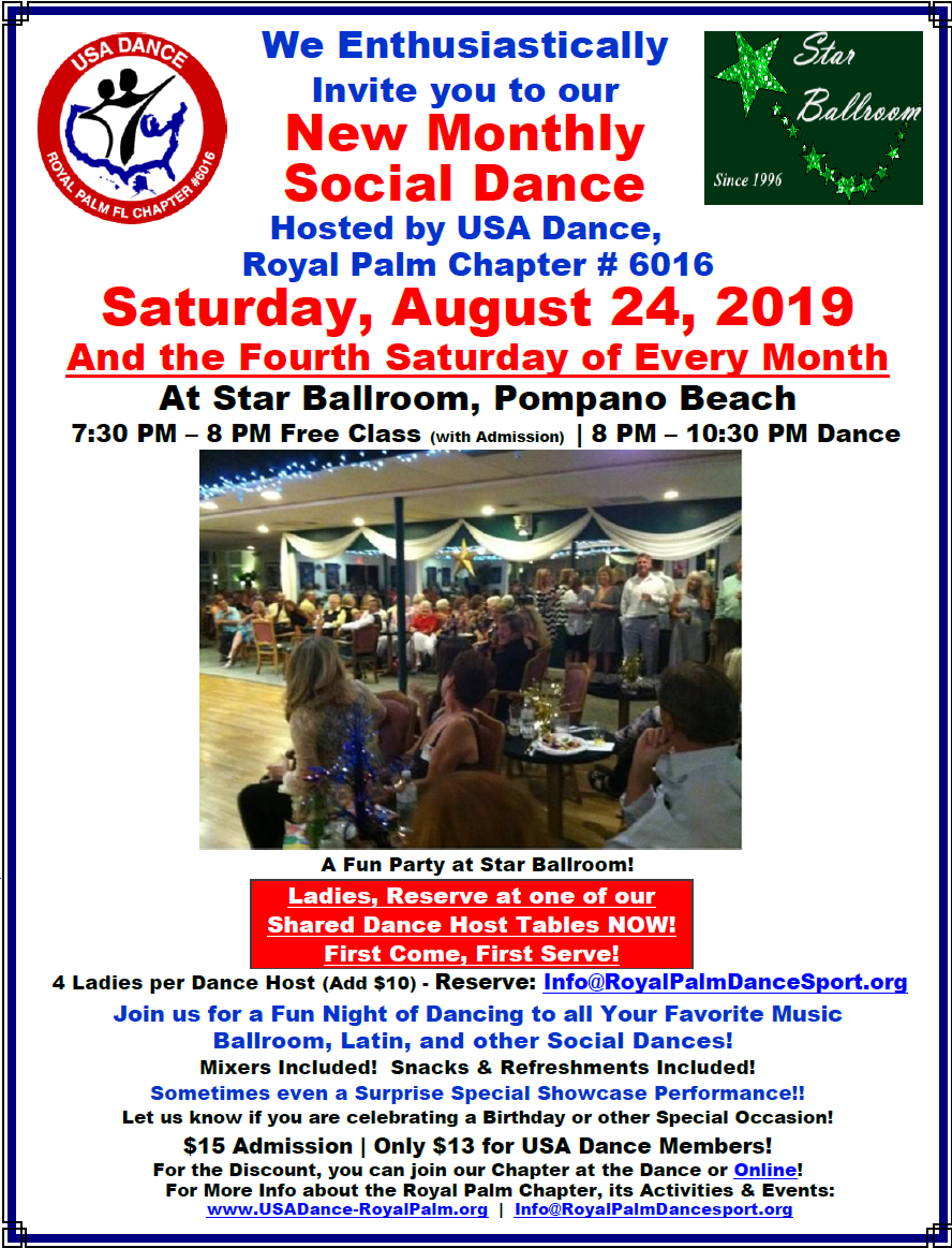 Don't Miss our August 24 Monthly Dance at Star Ballroom!!