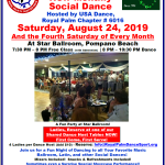 Don't Miss Our September Chapter Social Dances! – Tuesday, September 10 at Goldcoast Ballroom, Coconut Creek, FL; Thursday, September 19 at The Delray Ballroom, Delray Beach, FL;  & Saturday, September 28 at Star Ballroom, Pompano Beach, FL