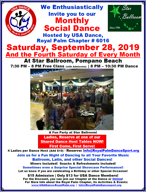 Royal Palm Chapter - Monthly Social Dance at Star Ballroom - September 28, 2019!