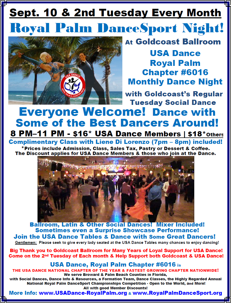 USA Dance, Royal Palm Chapter Monthly Dance: September 10 & the 2nd Tuesday Every Month - at Goldcoast Ballroom!