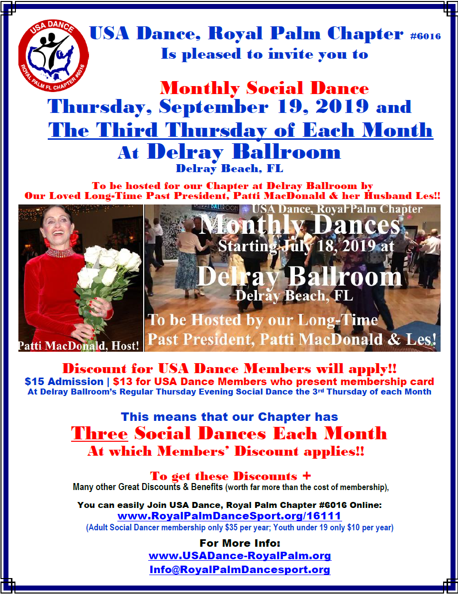 September 19, 2019 - Royal Palm Chapter Monthly Social Dance at Delray Ballroom